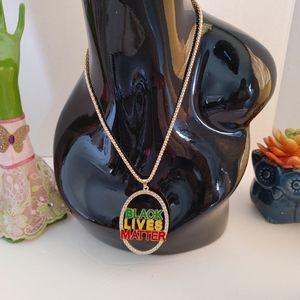 Gold Tone Black Lives Matter Pendant Necklace Set